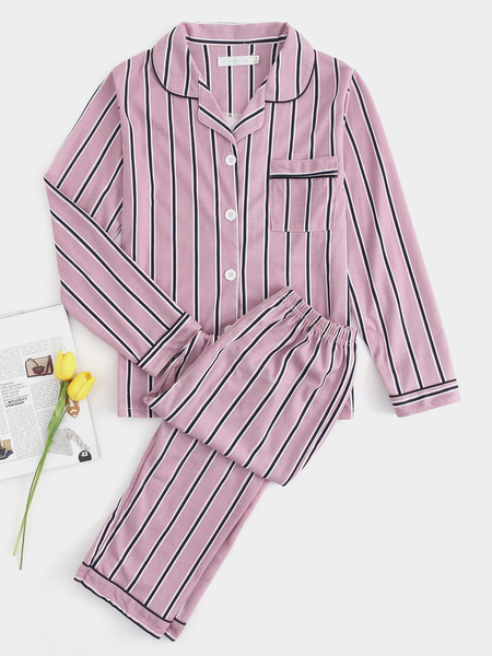 Stripe Pattern Button Front Long Sleeves Pajama Set in Pink