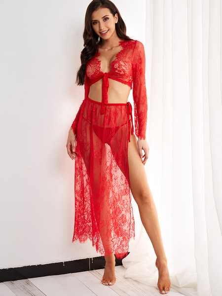 Red Floral Lace Two Piece Swim Cover Up Beachwear