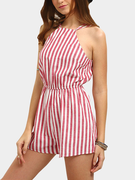 Sexy Stripe Pattern Open Back Playsuit