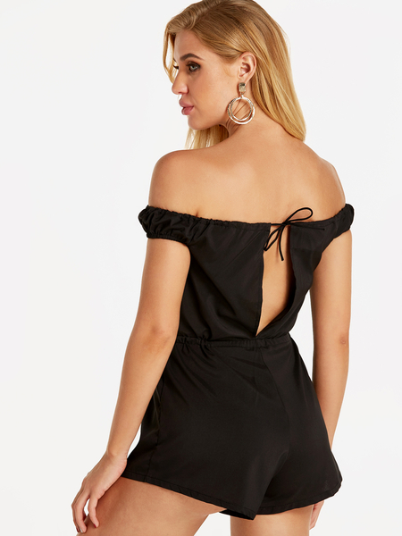 Black Sexy Off Shoulder Playsuit With Drawstring waist