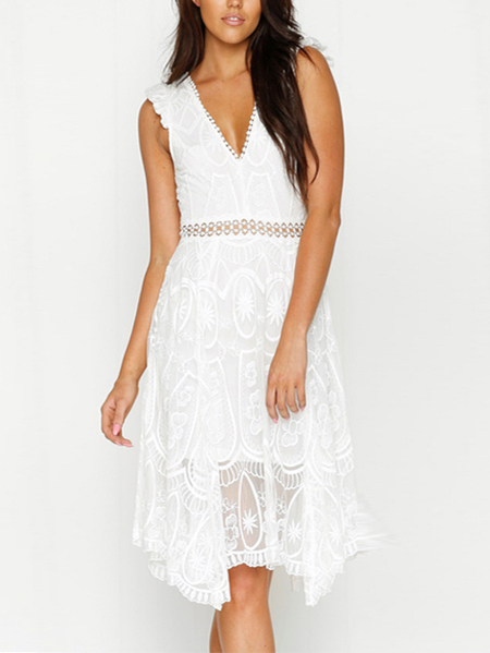 White Lace Hollow Out Backless V-neck Midi Dress
