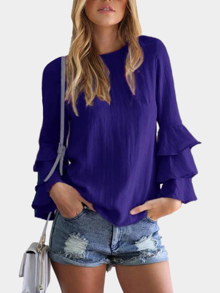 Dark Blue Round Neck Flared Sleeves Blouse