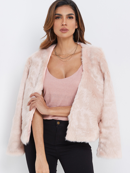 Pink Open Front Design Plain Long Sleeves Artificial Furs Coat
