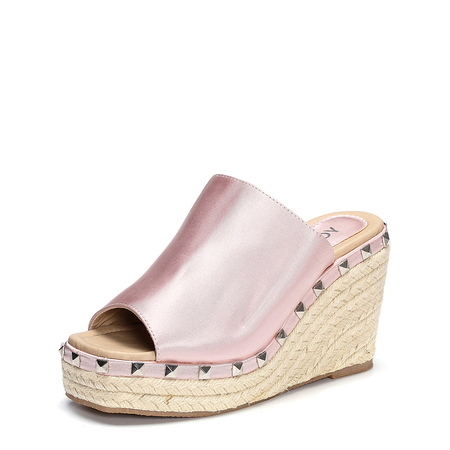 Pink Rivet Embellished Wedge Satin Slippers