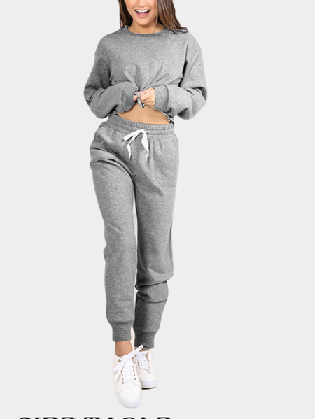 Grey Round Neck Top & Drawstring Waist Pants Two Piece Outfits