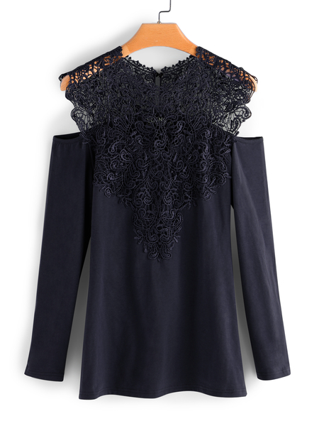 Navy Lace Details Cold Shoulder Long Sleeves T-shirt