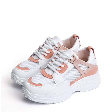 Woman Mesh Splicing Lace-Up Casual Sneakers