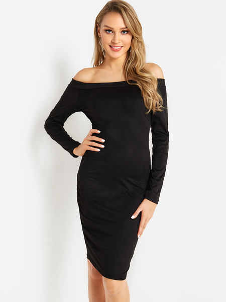 Black Lace Insert Plain Off Shoulder Long Sleeves Bodycon Hem Dress