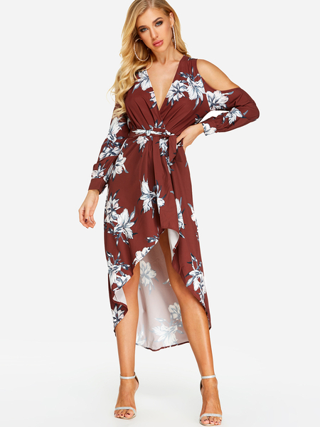 Sexy V-neck Wrap Split Irregular Hem Maxi Dress In Random Floral Print