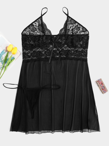 Plus Size Black Lace Insert Mesh Babydoll with Thong