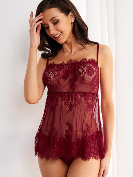 Burgundy Lace Eyelash Trim Square Neck Pajamas with G-string