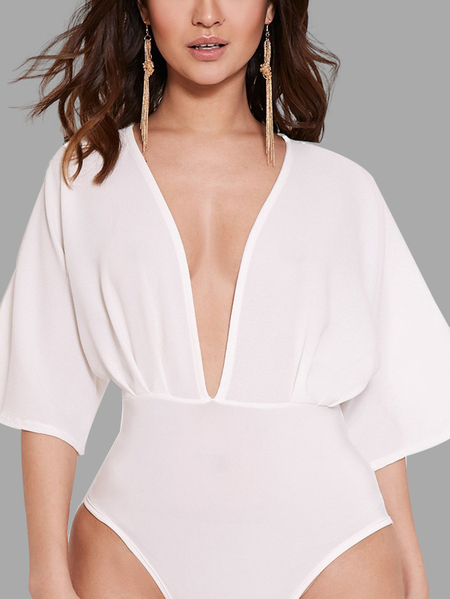 White Plunge V-neck Split Sleeves Bodysuit