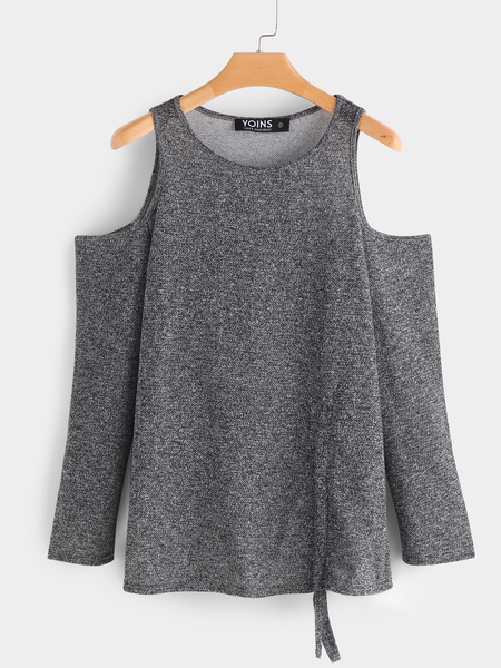 Grey Plain Drawstring Design Cold Shoulder Long Sleeves T-shirts