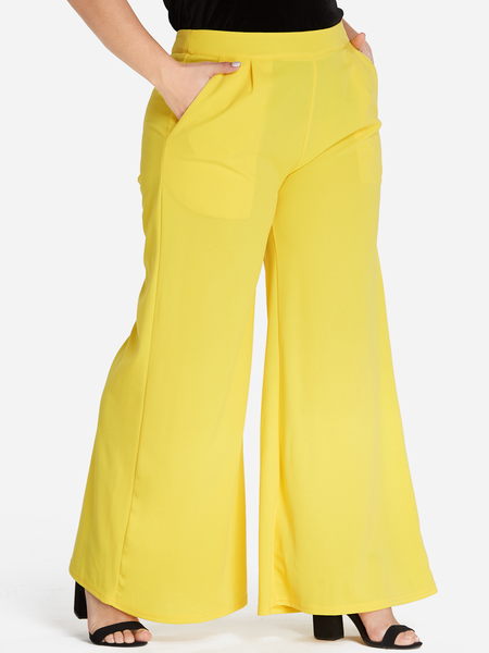 Plus Size Yellow Pocket Wide Leg Pants