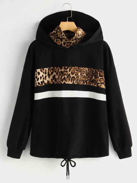 Black Leopard High Neck Drawstring Waist Hoodie