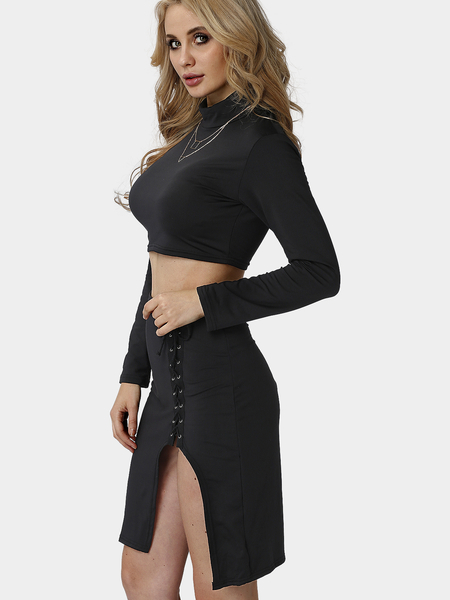 Black Long Sleeves Top and Split Lace-up Skirt  Co-ord