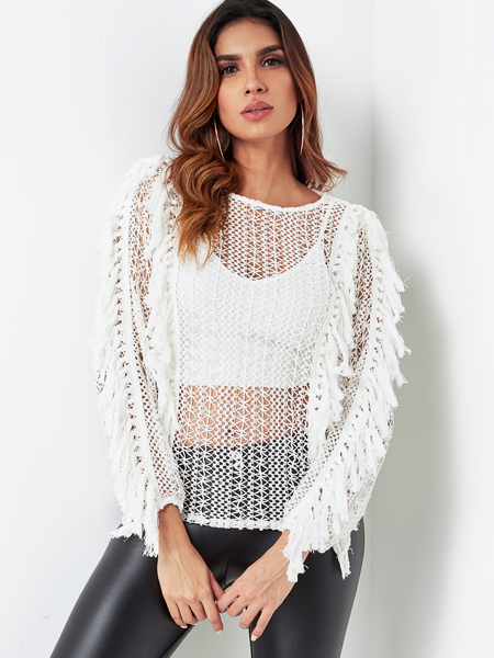 White Hollow Out See-through Crochet Lace Tassel Knitted Jumper