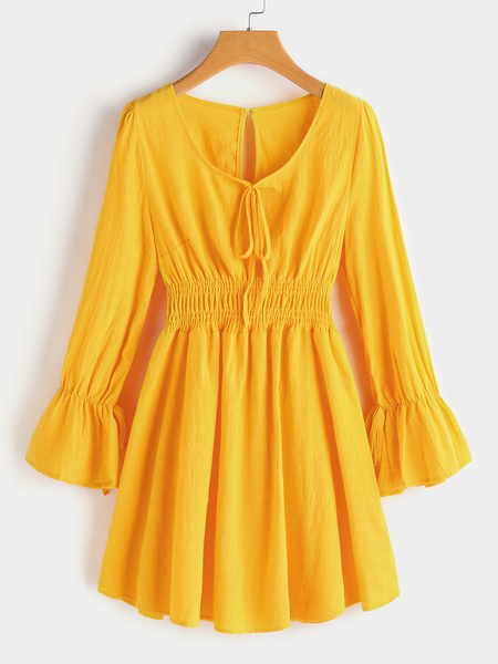 Yellow Pleated Details Lantern Sleeves Stretch Waistband Ruffle Hem Dress