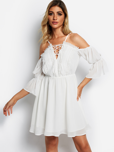 White Lace-up Design Cold Shoulder Mini Dress