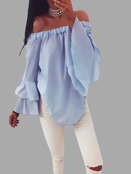 Chiffon Off-The-Shoulder Top in Blue