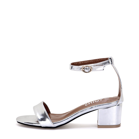 Silver Metallic Block Heel Ankle Strap Closure Sandals