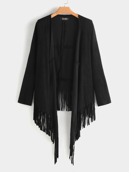 Black Long Fringed Suedette Coat