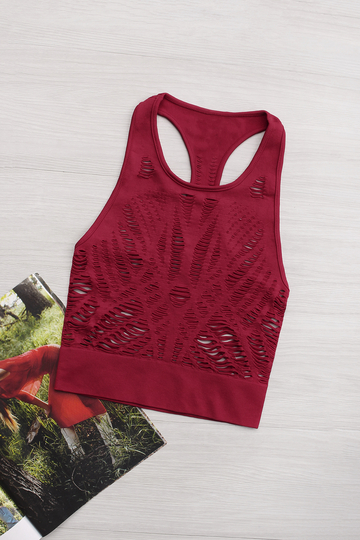 Active Cut Out Quick Drying Elastic Band Crop Top in Red