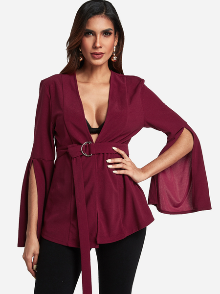 Yoins Burgundy V-neck Slit Sleeve Blazer with Self-tie