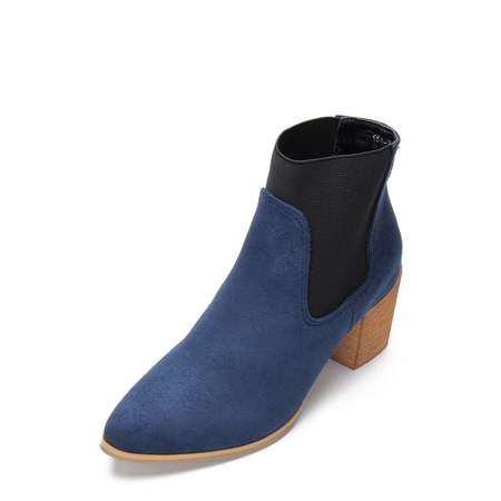 Blue Elastic Suede Chunky Heels Short Boots
