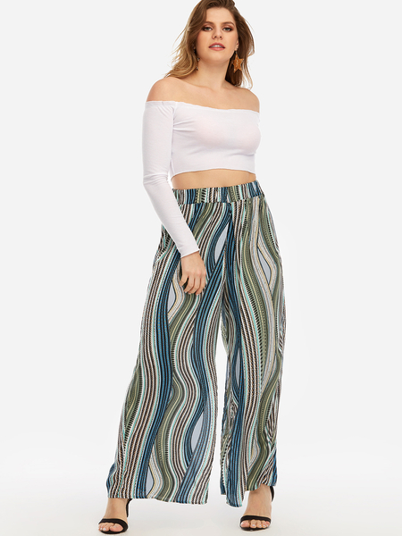 Plus Size  Fantasy Colour Striped Palazzo Slit Pants