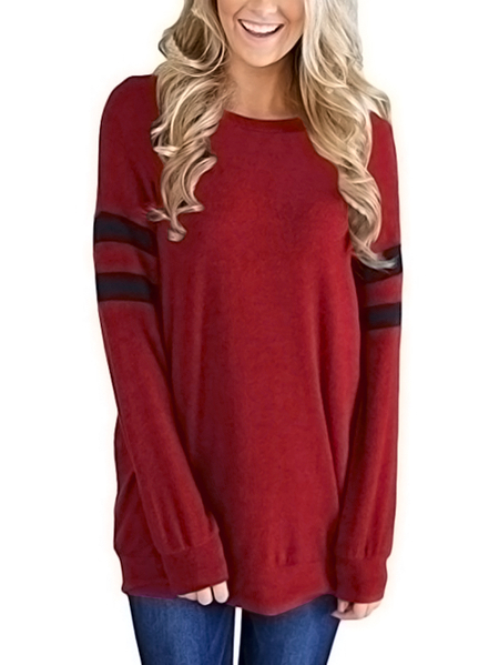 Burgundy Oversize Stripe Round Neck T-shirts