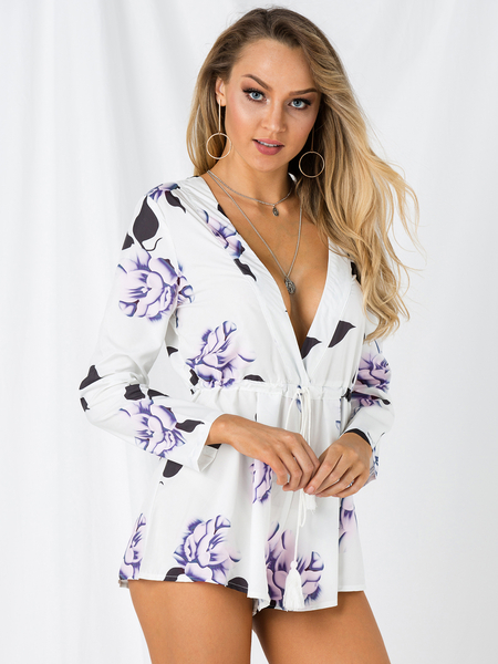 Plunge V-neck Floral Print Playsuit with Long Sleeves