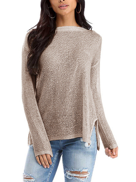 Khaki Slit Design Bateau Long Sleeves Knitted Top