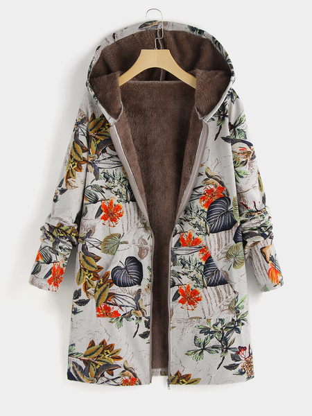 Plus Size Random Floral Print Hooded Design Coat