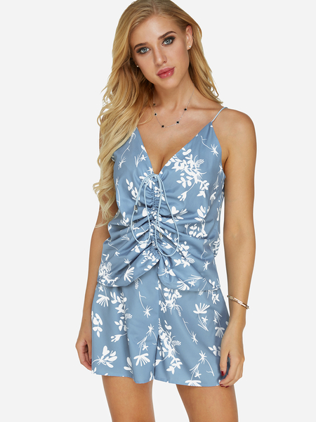 Blue Floral Print Spaghetti V-neck Lace-up Design Co-ord