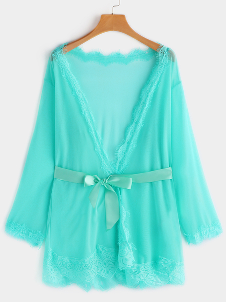 Green Sexy Deep V-neck Pajamas Set with Robe and T-back