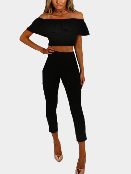 Black Off The Shoulder Bodycon Two Piece Set