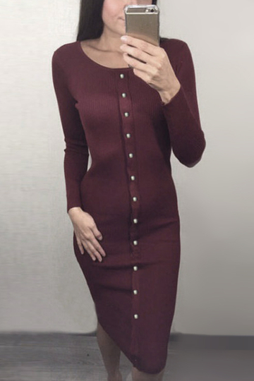 Burgundy Single Breasted Round Neck Casual Midi T-shirt Dress