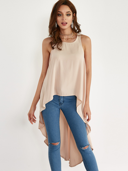 Khaki Round Neck Irregular Hem Design Top