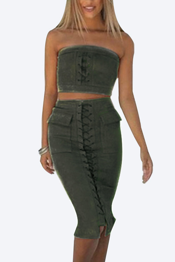 Army Green Suede Lace-up Tube Top & Midi Slit Hem Skirt Co-ord