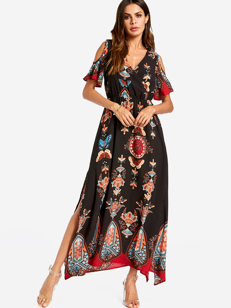 Black Slit Design Random Floral Print Cold Shoulder V-neck Maxi Dress