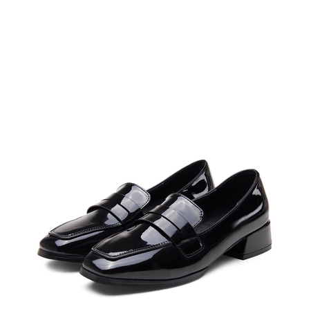 Black Classic Leather Look Square Toe Slip-on Loafers