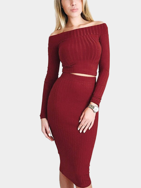 Burgundy Knit Off-The-Shoulder Bodycon Two Piece Outfits