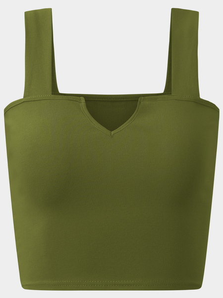 Active Cut Out Elastic Tank Top In Amry Green
