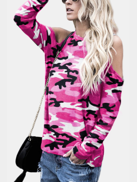 Pink Camouflage Round Neck Cold Shoulder Long Sleeves T-shirt