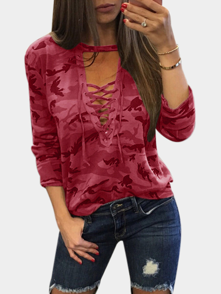Red Sexy Camouflage Pattern V-neck Lace-up Front Top