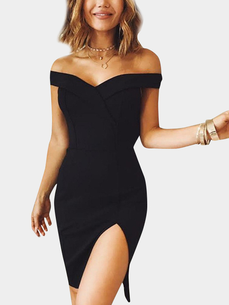 Black Off The Shoulder Slit Hem Party Dresses