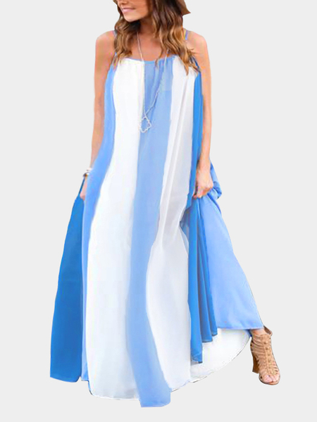Vacation Stripe Pattern Maxi Dress