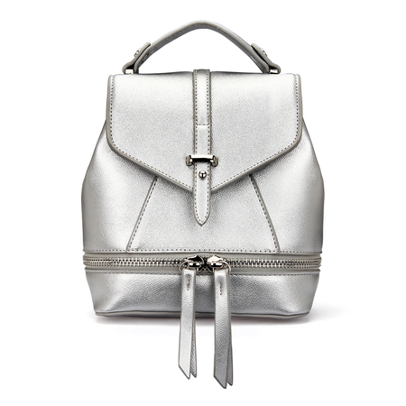 Leather-Look Mini Backpack in All Silver