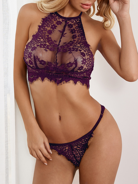 Purple-red Sexy Delicate See-through Lace Halter Lingerie Set without Stockings